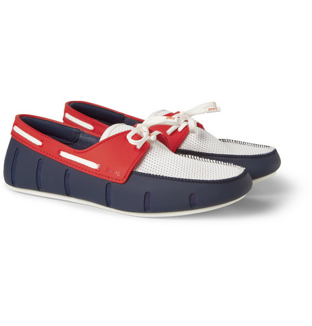 SWIMS Colour-Block Rubber And Mesh Boat Shoes