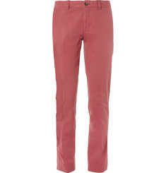 Faconnable Slim-Fit Brushed Cotton-Blend Trousers