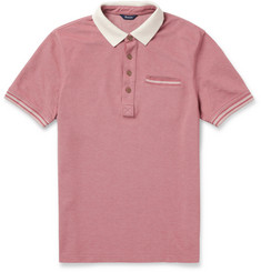 Faconnable Contrast Collar Cotton Pique Polo Shirt
