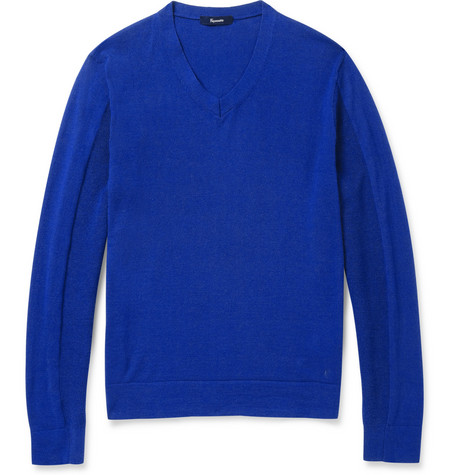 Faconnable Wool and Cotton-Blend V-Neck Sweater