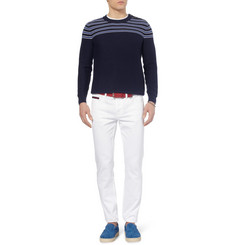 Faconnable Striped Cotton and Cashmere-Blend Sweater