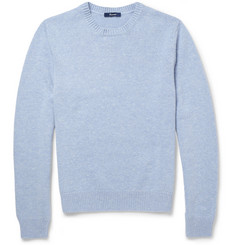 Faconnable Nubuck Elbow Patch Cashmere and Cotton-Blend Sweater