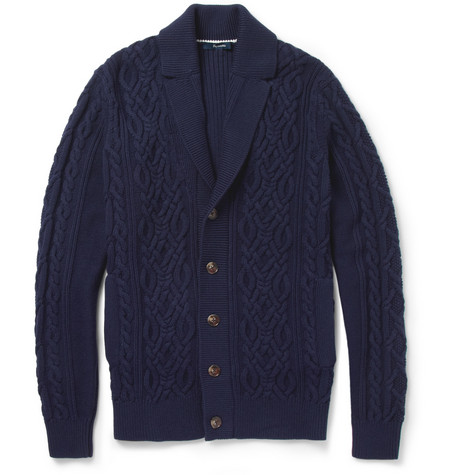 Faconnable Cable and Ribbed-Knit Cotton and Cashmere-Blend Cardigan