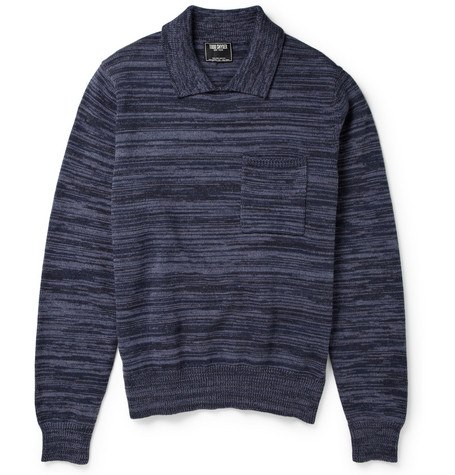 Todd Snyder Collared Melange Cotton-Blend Sweater