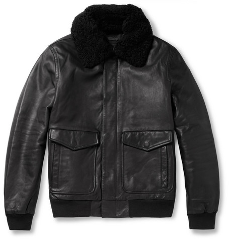 Marc by Marc Jacobs Lewisham Shearling-Collar Leather Bomber Jacket