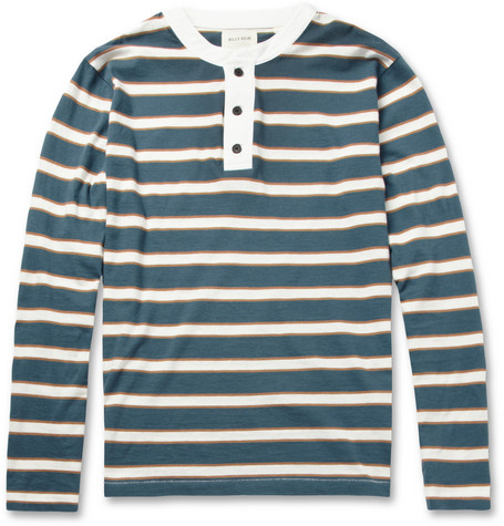 Billy Reid Striped Cotton-Jersey Henley T-Shirt
