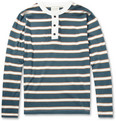 Billy Reid - Striped Cotton-Jersey Henley T-Shirt
