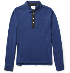 Billy Reid Long-Sleeved Cotton-Jersey Polo Shirt