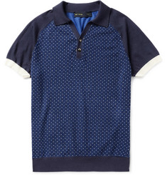 Etro Jacquard-Knit Cotton and Cashmere-Blend Polo Shirt