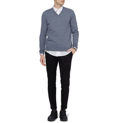 Maison Martin Margiela Elbow Patch Wool and Cotton-Blend Sweater