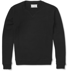 Maison Martin Margiela Suede Elbow Patch Loopback Cotton-Jersey Sweatshirt
