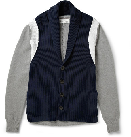 Maison Martin Margiela Dobby and Ribbed-Knit Shawl Collar Cotton Cardigan