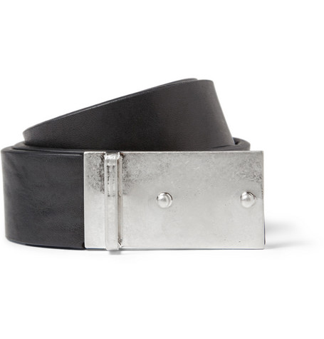 Maison Martin Margiela Black 2.5cm Reversed-Buckle Leather Belt