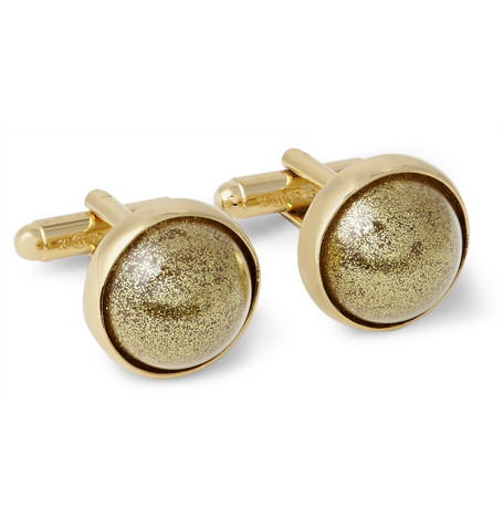 Maison Martin Margiela Gold-Plated Glitter Dome T-Bar Cufflinks