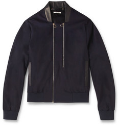 Paul Smith Leather-Trimmed Lightweight Wool-Blend Bomber Jacket