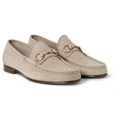 Gucci Horsebit Brushed-Leather Loafers