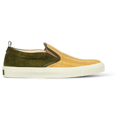 Gucci Woven Straw And Suede Slip-On Sneakers
