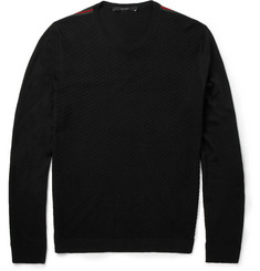 Gucci Fine-Knit Patterned Wool Crew Neck Sweater