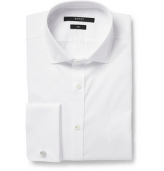 Gucci White Slim-Fit Textured-Cotton Tuxedo Shirt
