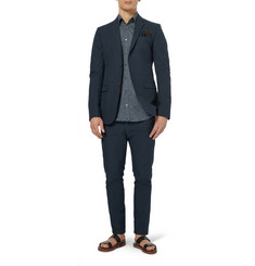 Gucci Blue Slim-Fit Woven-Cotton Blazer