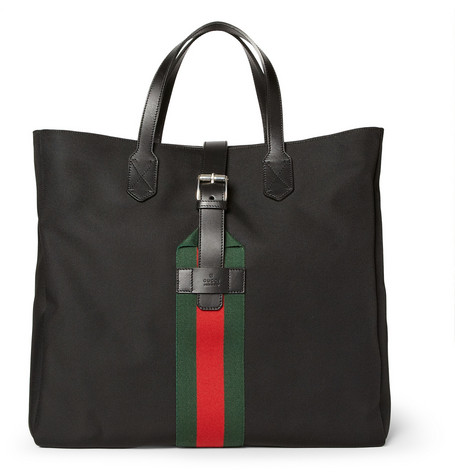 Gucci Leather-Trimmed Techno-Canvas Tote