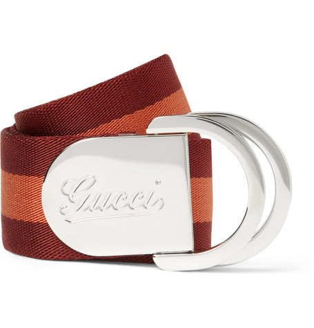 Gucci 4cm Striped Canvas Belt