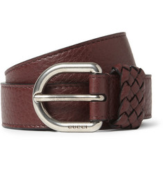 Gucci Burgundy 2.5cm Textured-Leather Belt