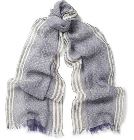 Gucci Diamond-Patterned Linen and Cotton-Blend Scarf