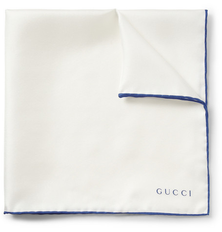 Gucci Contrast-Edge Silk-Twill Pocket Square
