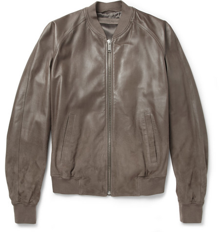 Alexander McQueen Degrade Leather and Nubuck Bomber Jacket