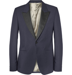 Alexander McQueen Navy Slim-Fit Wool and Mohair-Blend Tuxedo Jacket