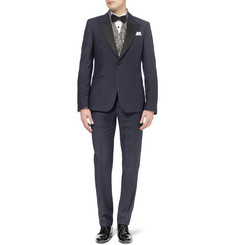 Alexander McQueen Navy Slim-Fit Wool and Mohair-Blend Tuxedo Trousers