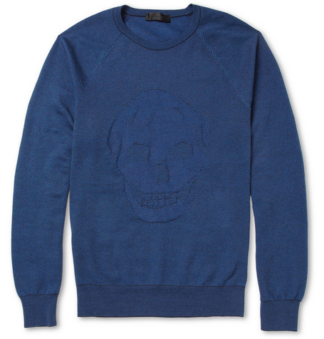 Alexander McQueen Skull-Intarsia Woven Cotton and Cashmere Sweater
