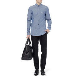 Alexander McQueen Round Collar Cotton-Chambray Shirt