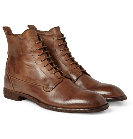 Alexander McQueen Washed-Leather Lace-Up Boots