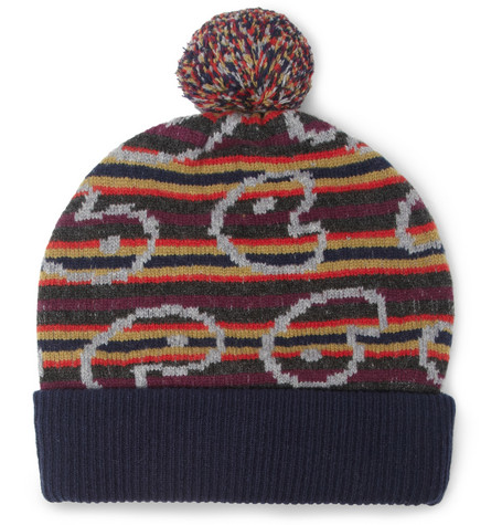 Marc by Marc Jacobs Patterned Merino Wool Beanie Bobble Hat