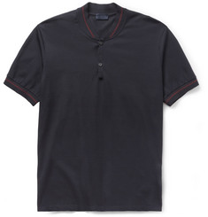 Lanvin Baseball-Collar Cotton-Piqué Polo Shirt