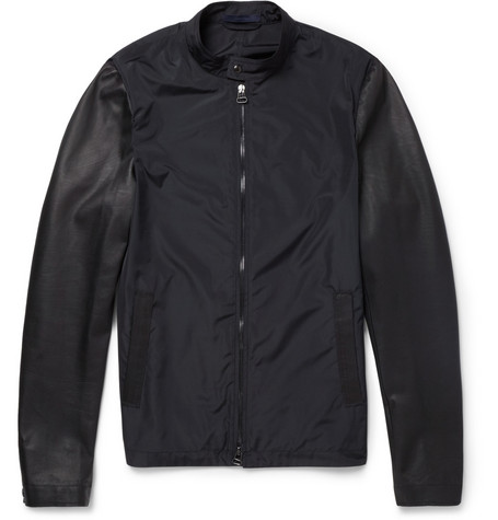 Lanvin Leather and Poplin Bomber Jacket