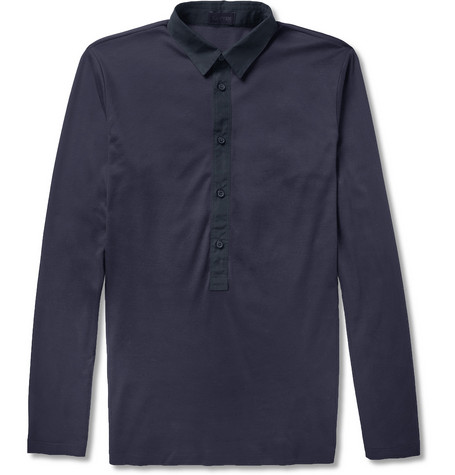 Lanvin Long-Sleeved Cotton-Jersey Polo Shirt