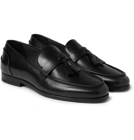 Lanvin Cross-Grain Leather Tassel Loafers