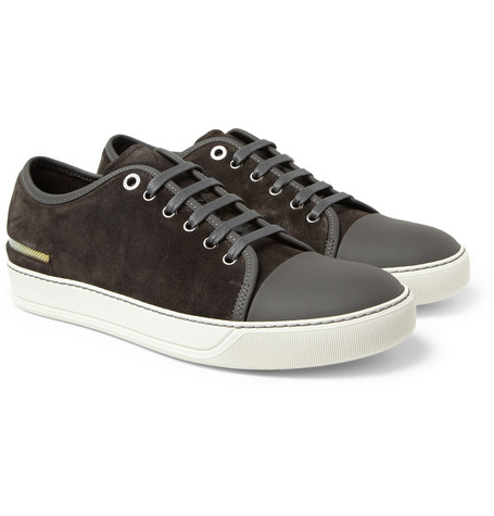 Lanvin Metallic-Trimmed Suede Sneakers