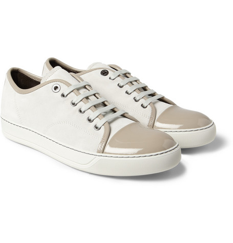 Lanvin Suede and Patent-Leather Low Top Sneakers