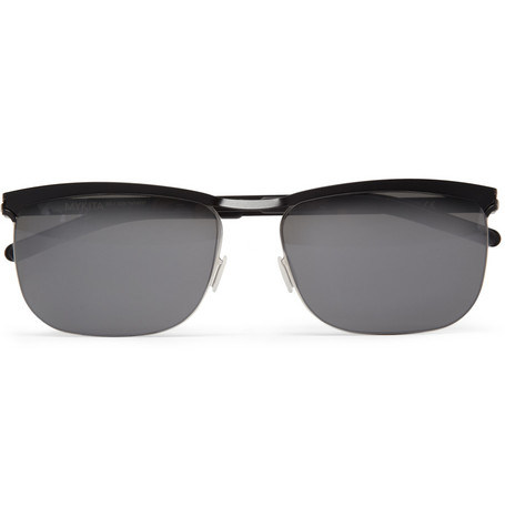 Mykita Wyatt Rectangular-Frame Metal Sunglasses