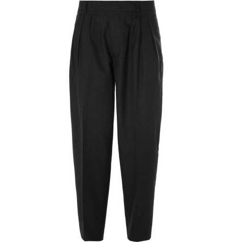 McQ Alexander McQueen Tapered Wide Leg Wool Trousers