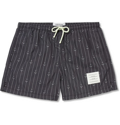Thom Browne Short-Length Anchor and Pinstripe-Print Swim Shorts