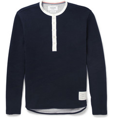 Thom Browne Ribbed Cotton-Jersey Henley T-Shirt