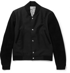 Thom Browne Suede and Wool and Mohair-Blend Bomber Jacket