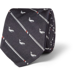 Thom Browne Whale-Patterned Woven-Silk Tie