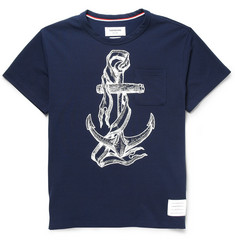 Thom Browne Anchor-Print Cotton-Blend Piqué T-Shirt