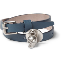 Alexander McQueen Metal Skull and Leather Bracelet